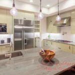 Beautiful Kitchen in Luxury Home with Island and Stainless Steel